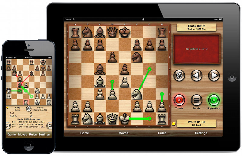 Chess Tiger for iOS                 (shown on the iPad)